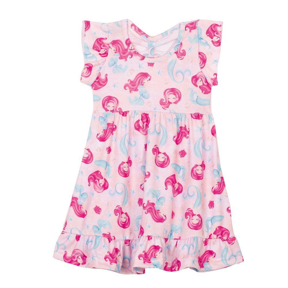 Vestido Sereias Infantil Menina Rosa