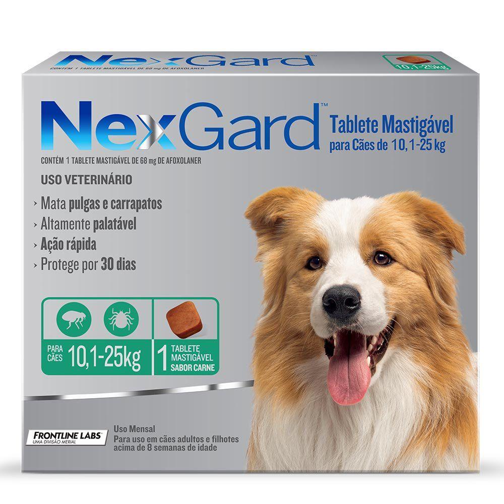 Antipulgas e Carrapatos Merial Nexgard de 3,0 g Tam G para Cães de 10,1 a 25 Kg