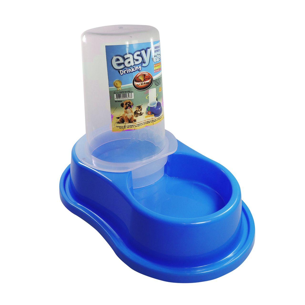 Bebedouro Automático Furacão Pet de Plástico Antiformiga com Dosador - Azul