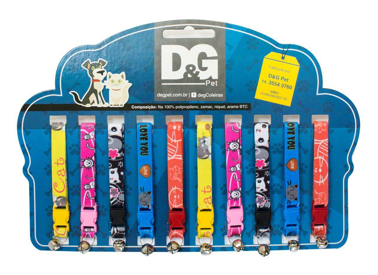 Coleira Elastica P/Gatos Com Guizo Embalagem cartela com 10 unidades