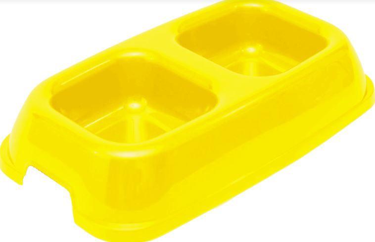 Comedouro Christino Caes Duplo Amarelo Embalagem com 5 unidades