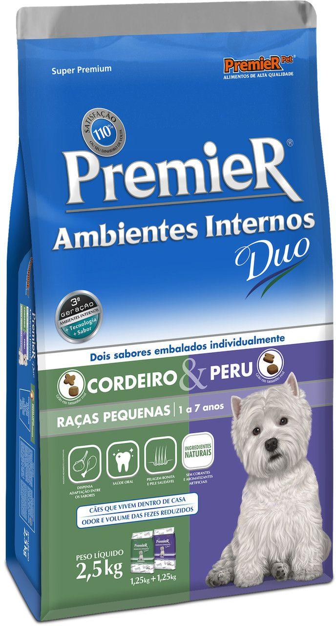 Ração Premier Ambientes Internos Duo de Cordeiro E Peru para Cães Adultos de Raças Pequenas