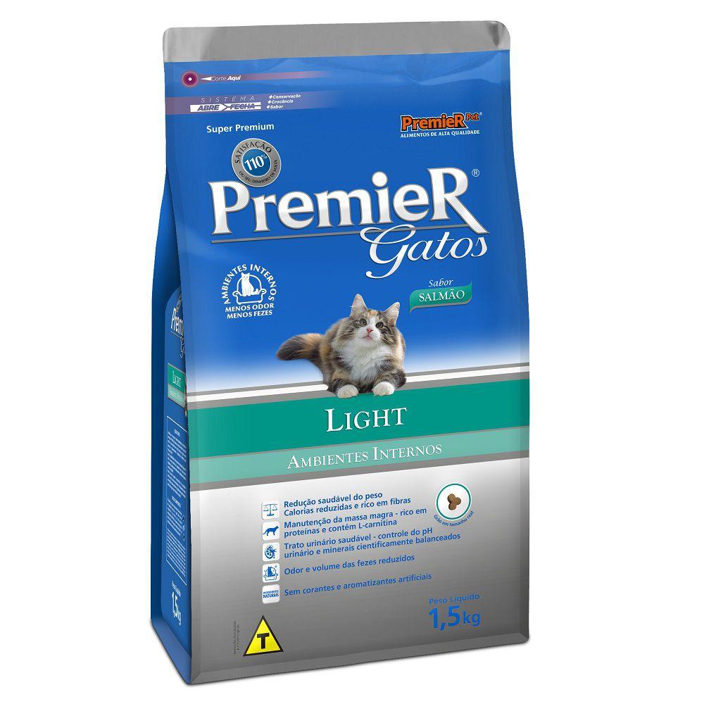 Ração Premier Ambientes Internos Light de Salmão para Gatos Adultos