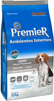 Ração Premier Ambientes Internos Light Frango e Salmão para Cães Adultos de Raças Pequenas