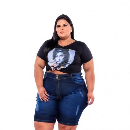 Bermuda Jeans Azul com Puídos