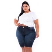 Bermuda Jeans Cós Alto com Puídos