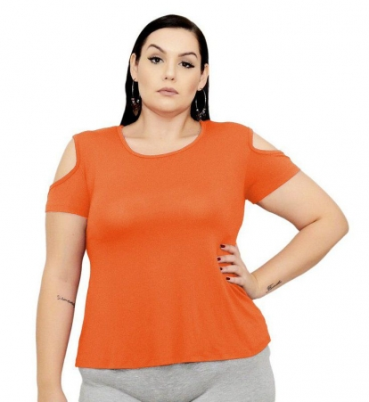 Blusa Bata T-Shirt Com Ombro Aberto