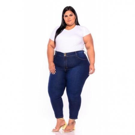Calça Jeans Skinny com Strech e Bordado nos Bolsos