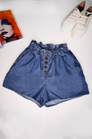 Short Jeans Clochard Cós Alto com Botões
