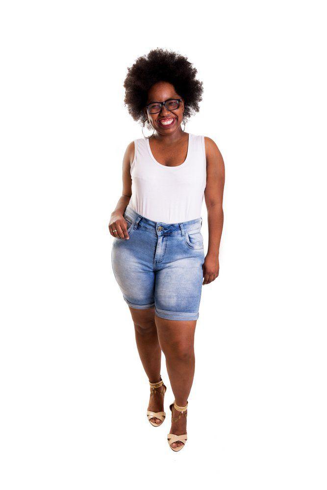 Bermuda Jeans Clara com Cós Alto
