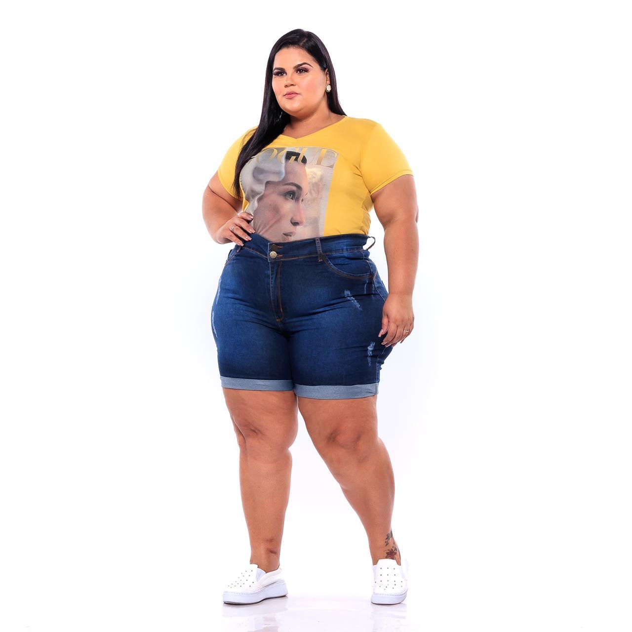 Bermuda Jeans com Barra Dobrada