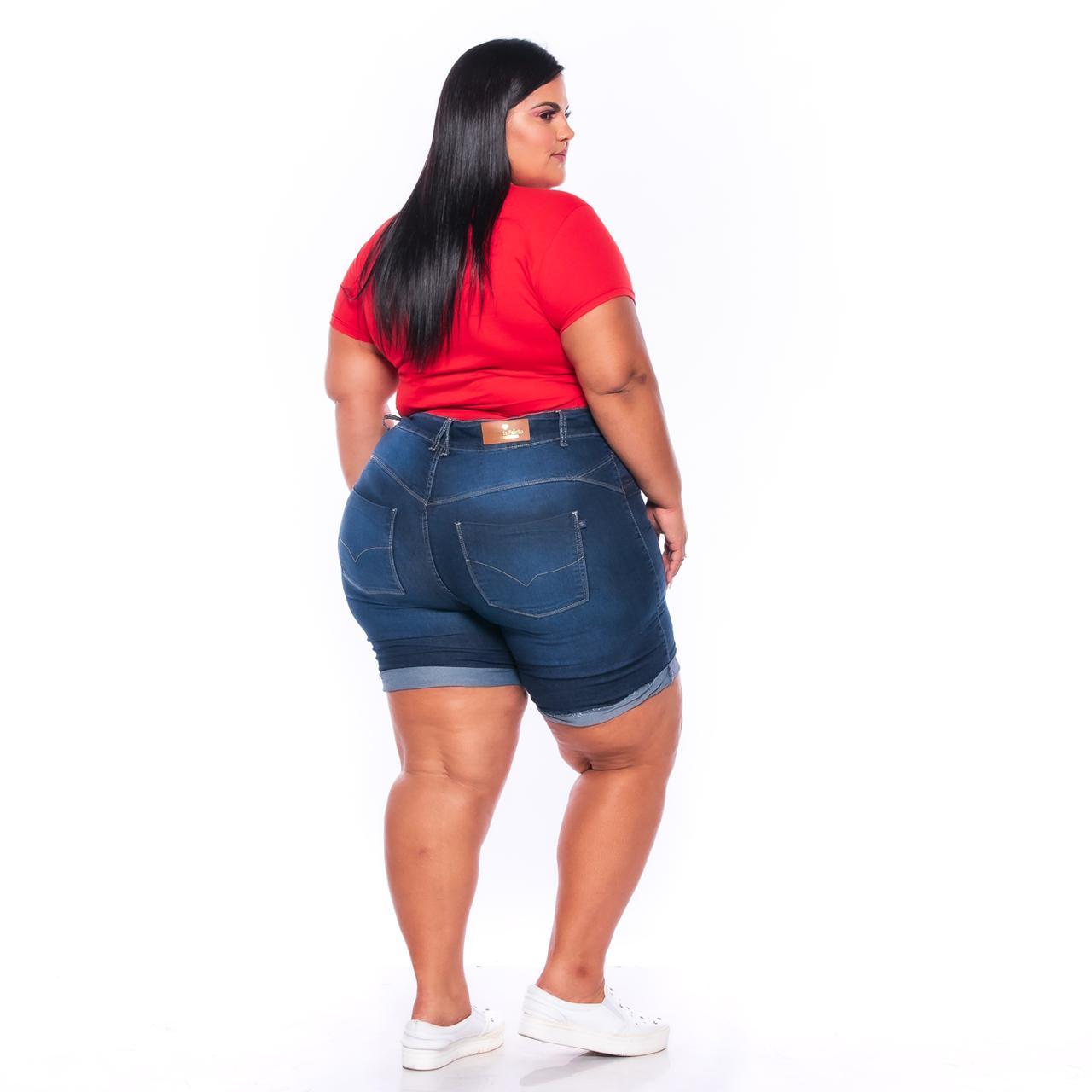 Bermuda Jeans com Barra Italiana