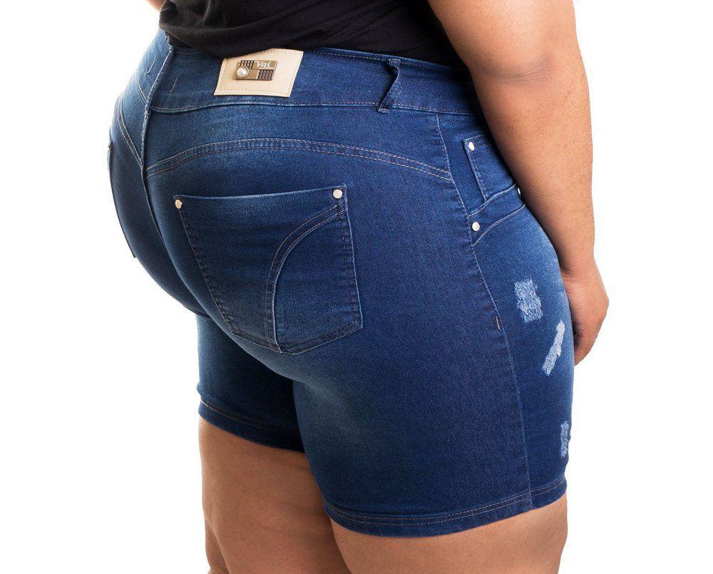 Bermuda Jeans Manchada Meia Coxa