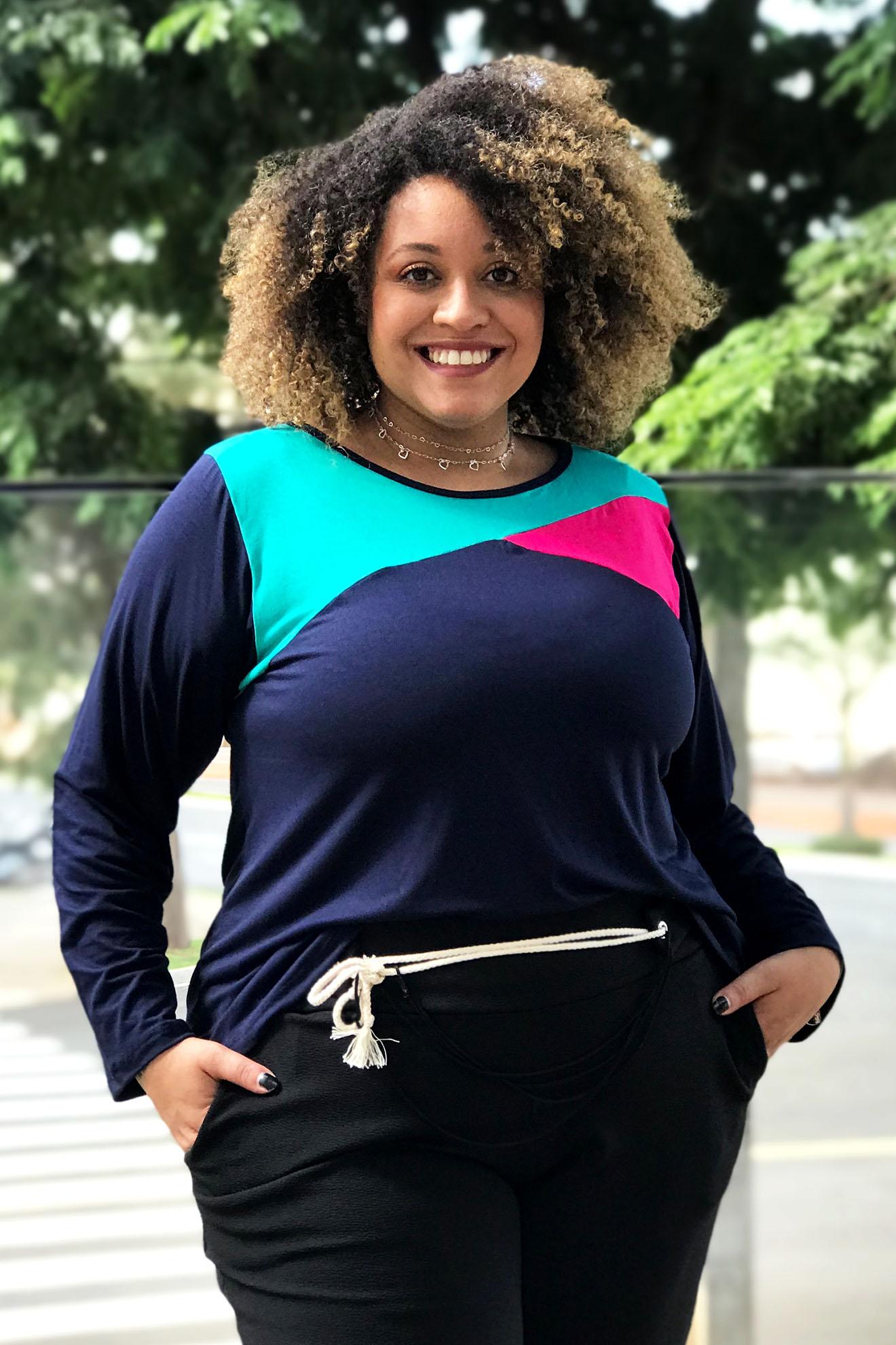 Blusa Bata Manga Longa Bicolor