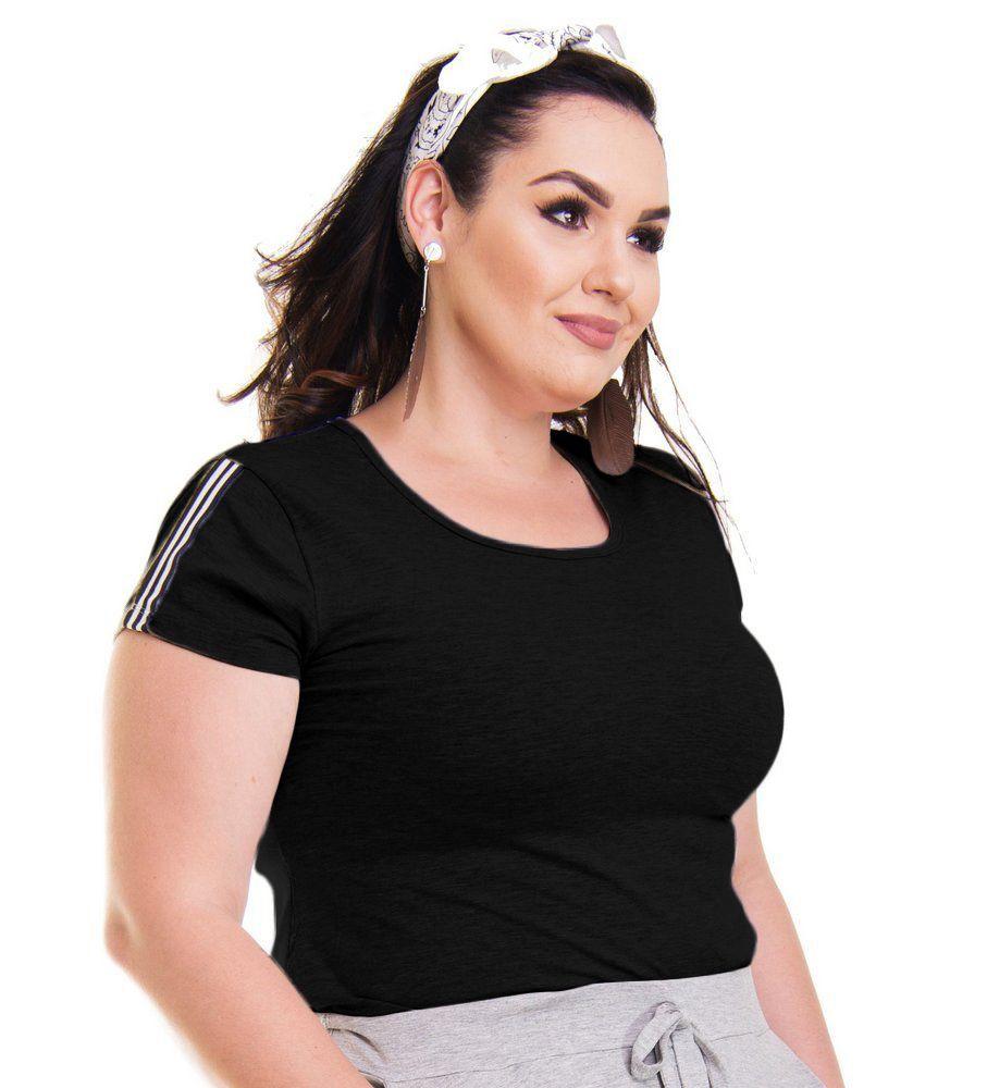 Blusa Bata T-Shirt Com Listras No Ombro