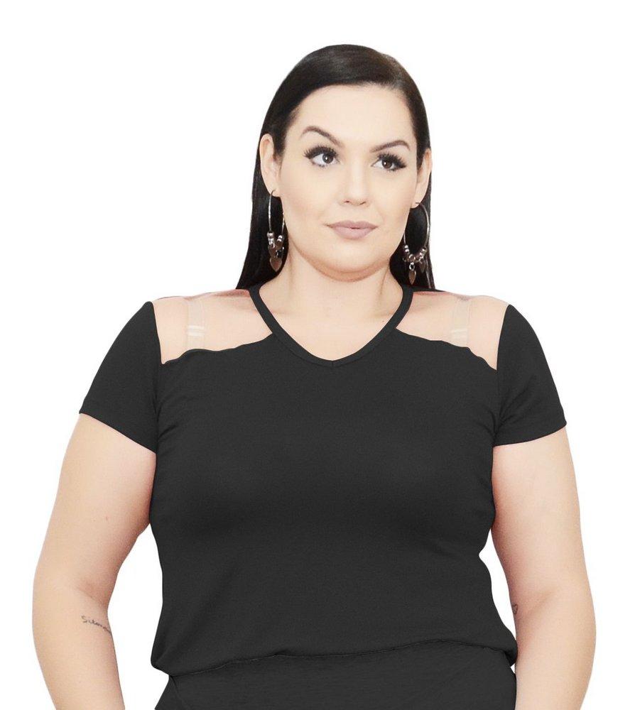 Blusa Bata T-Shirt Gola V  Com Transparência No Ombro