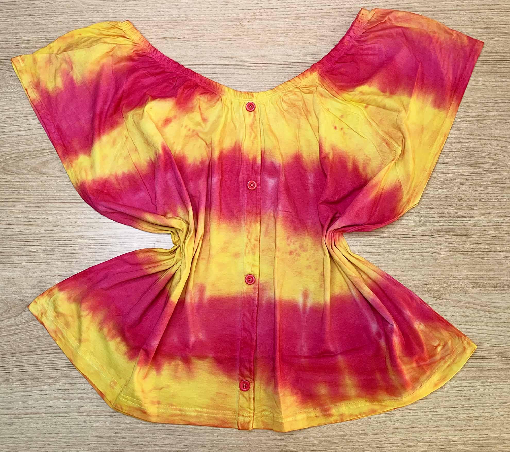 Blusa Ciganinha com Botões Tie Dye