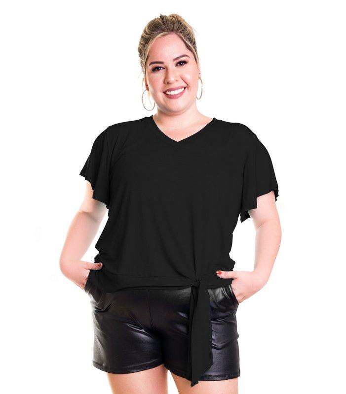 Blusa T-Shirt com Amarração Lateral e Manga Godê