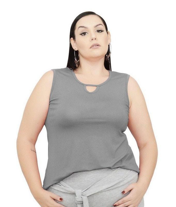 Blusa Regata Com Decote Gota - Liquidação Outlet