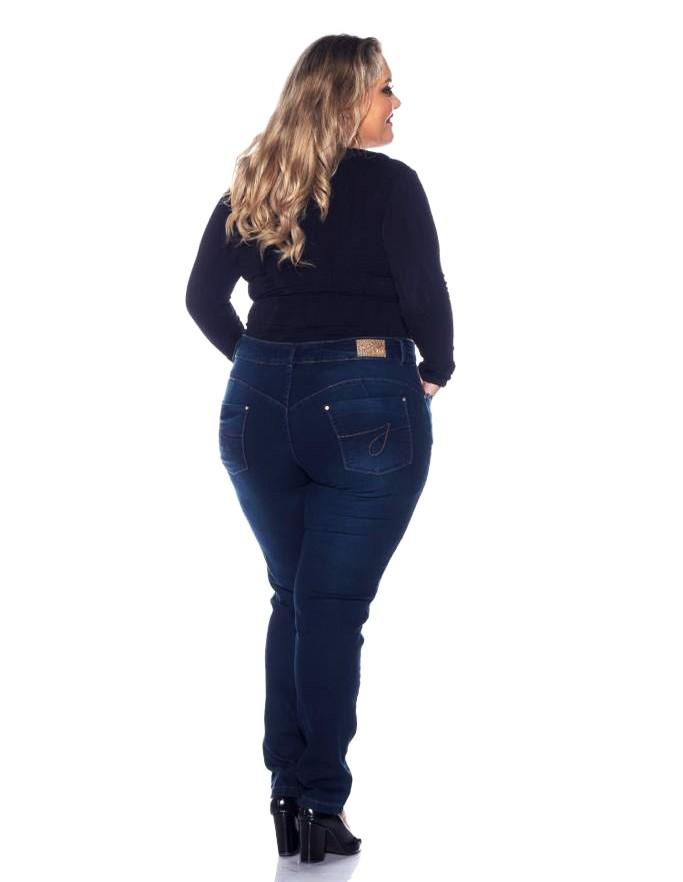 Calça Jeans Feminina Plus Size Skinny Lavagem Escura
