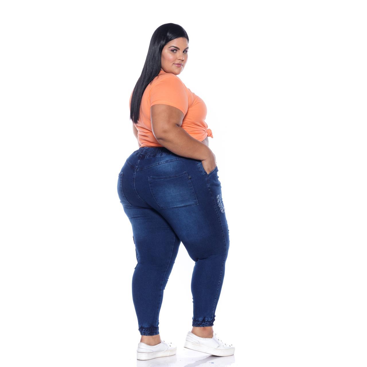 Calça Jeans Jogger Cargo Lavagem Escura com Rasgos