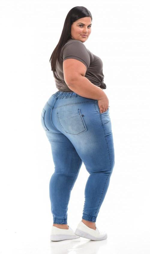 Calça Jeans Jogger com Cordão Lavagem Clara
