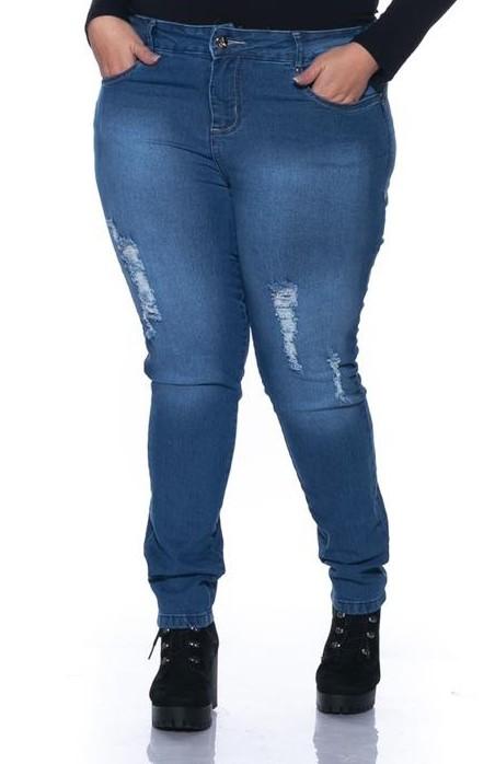 Calça Jeans Skinny Azul com Rasgos