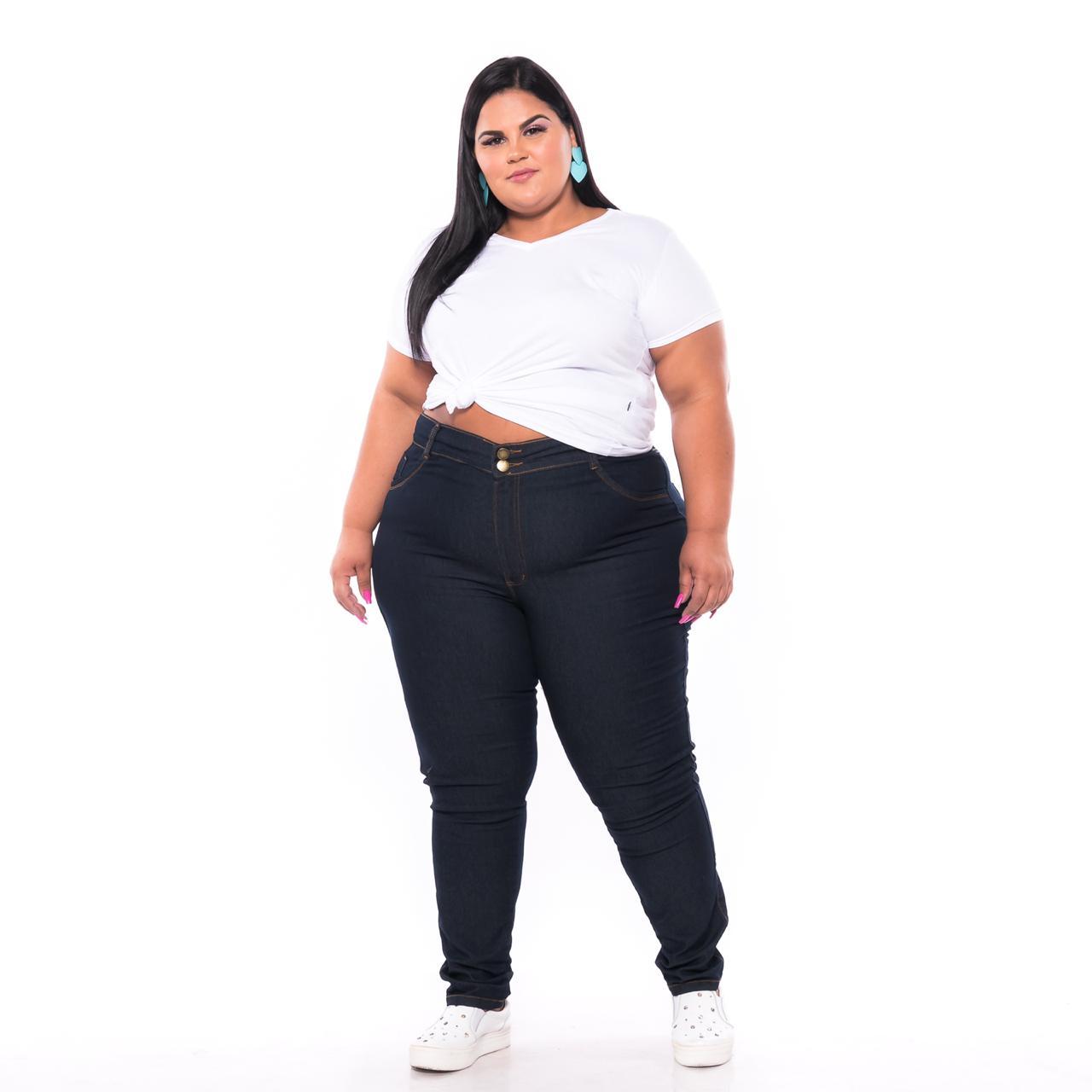 Calça Jeans Skinny Cós Alto Lavagem Escura