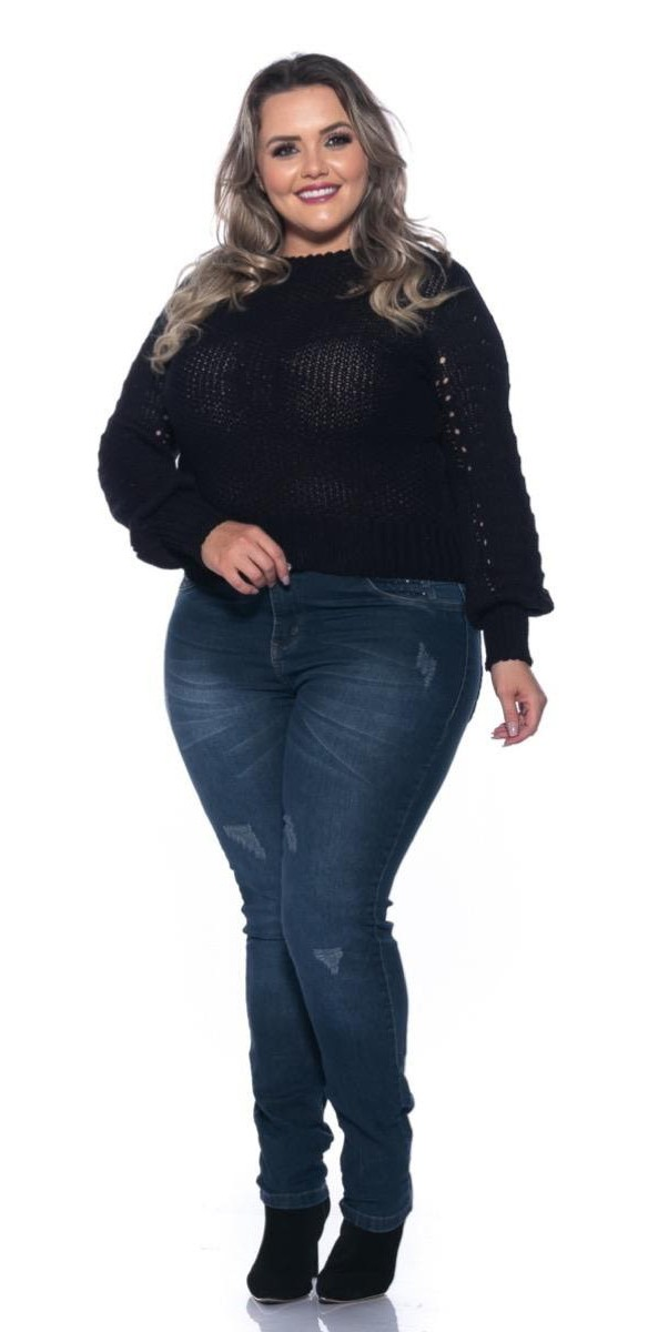 Calça Jeans Skinny Escura com Bolsos Detalhados