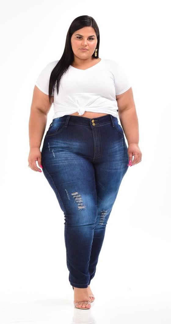 Calça Jeans Skinny Lavagem Escura com Manchas