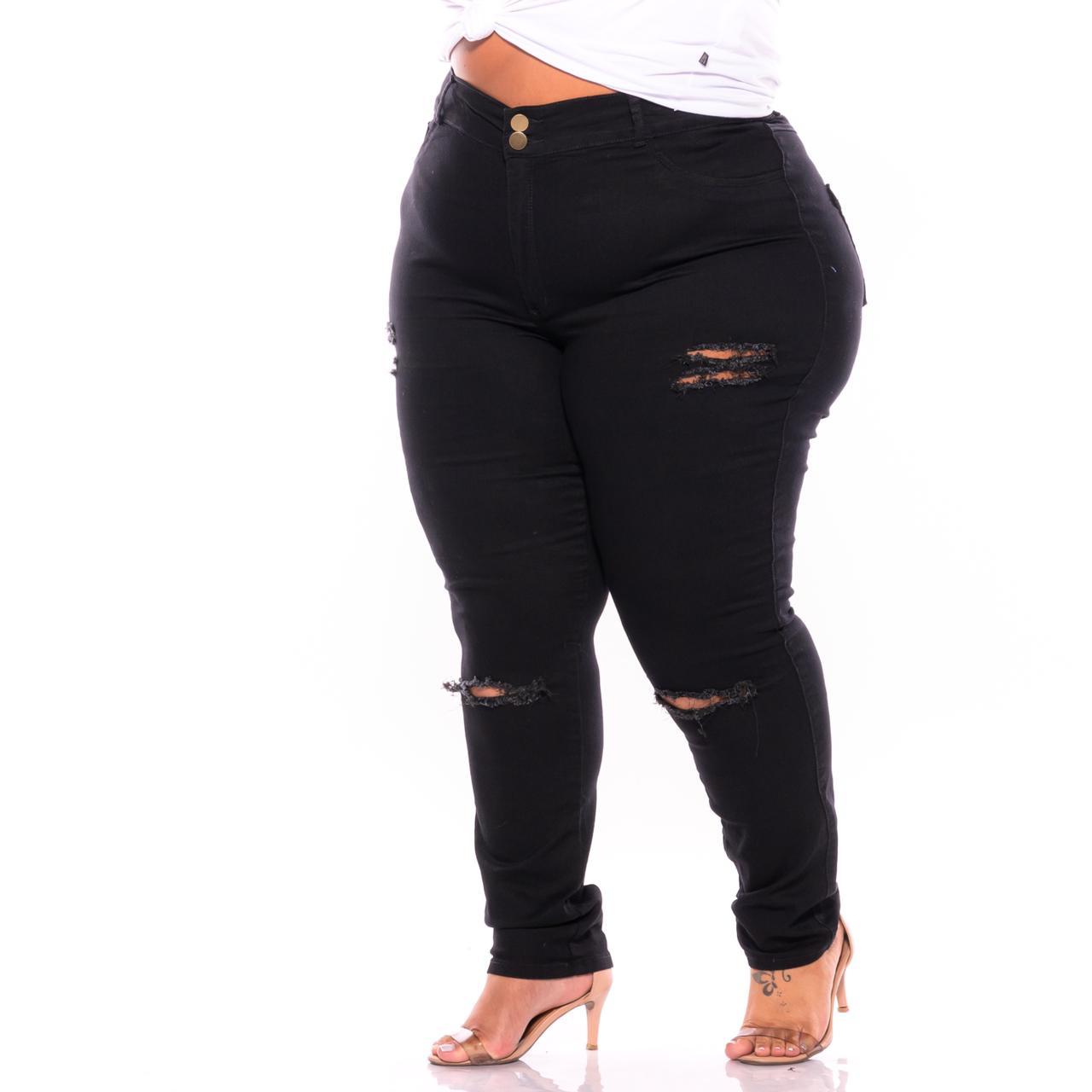 Calça Jeans Skinny Preta com Rasgos