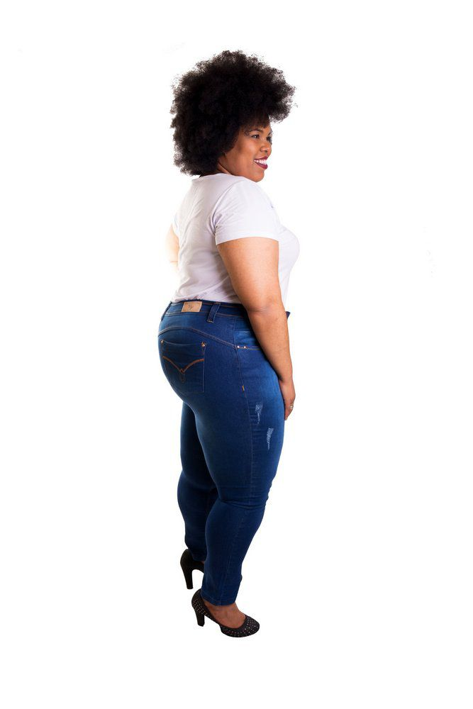 Calça Jeans Super Skinny Manchada