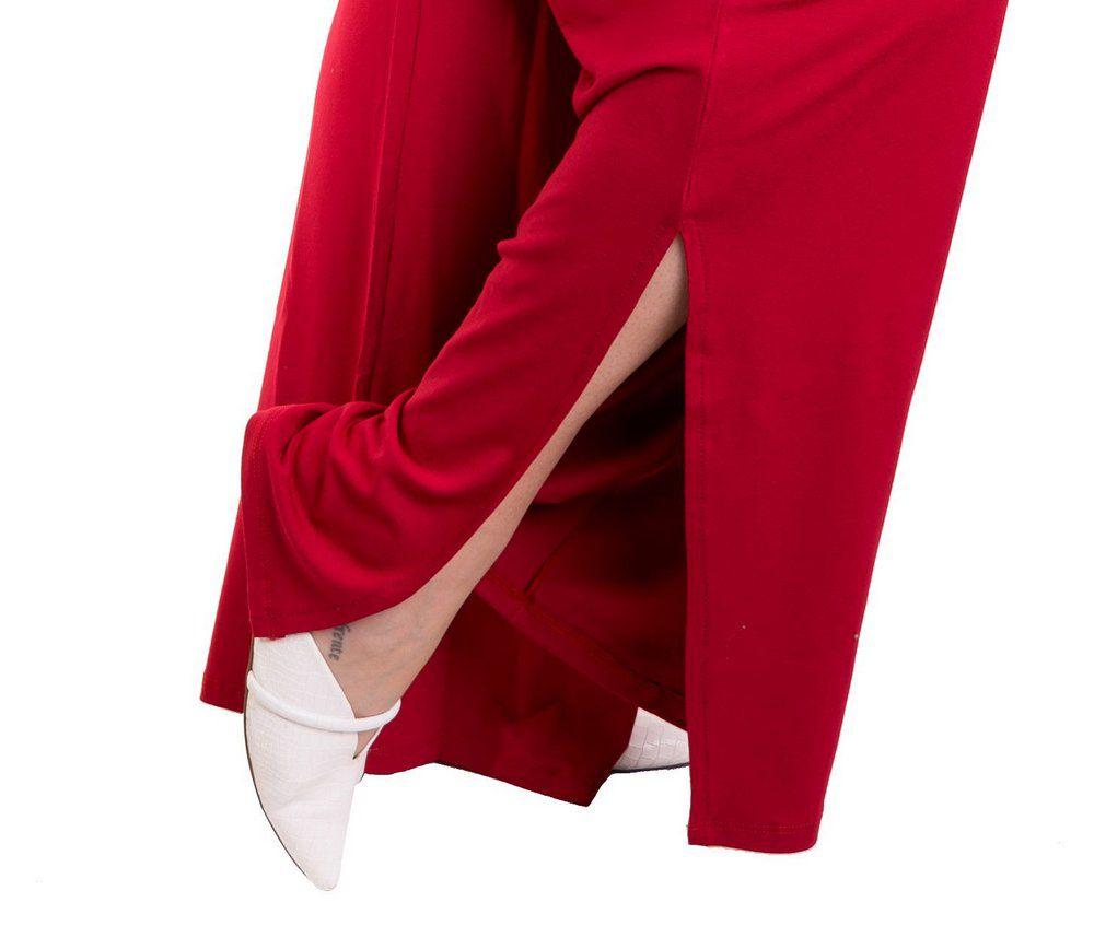 Calça Pantalona Com Fenda E Cinto
