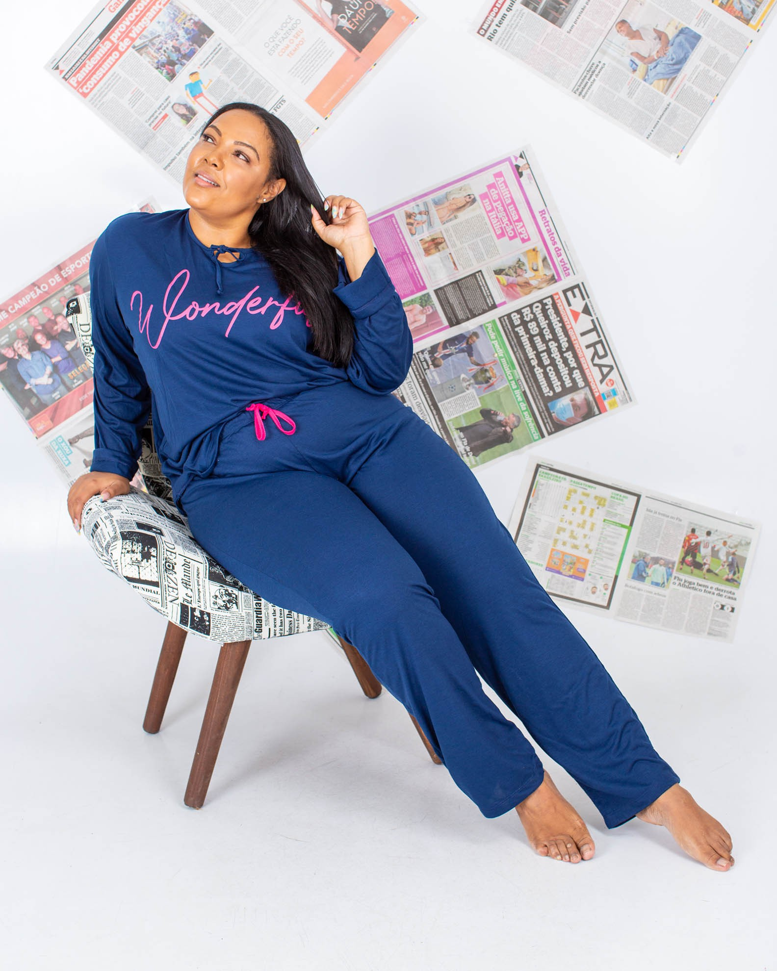 Conjunto de Pijama com Calça e Blusa Manga Longa Wonderful