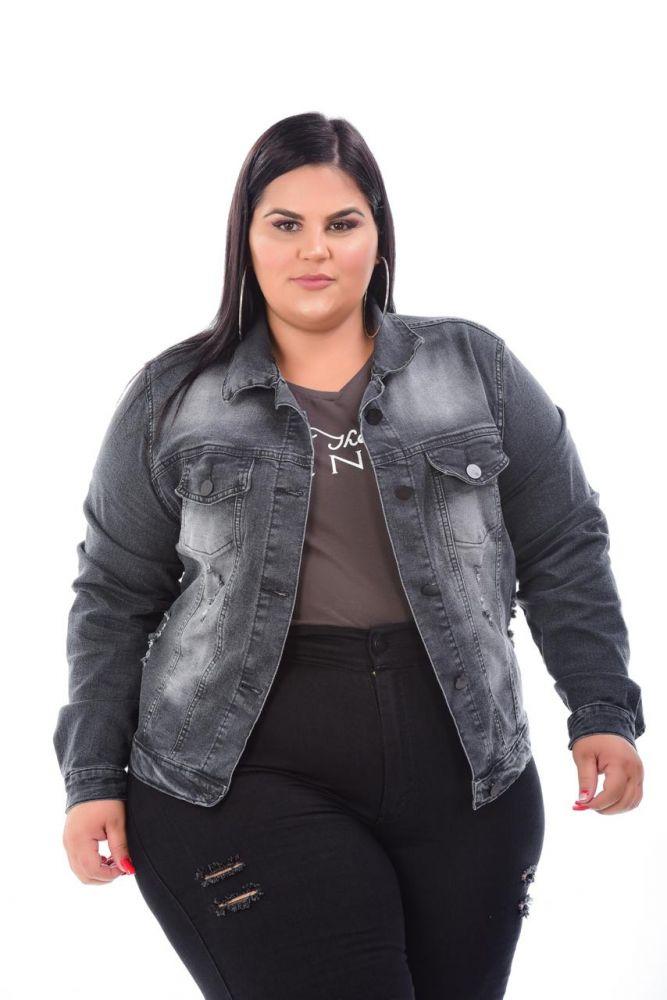 Jaqueta Jeans Preta Manchada