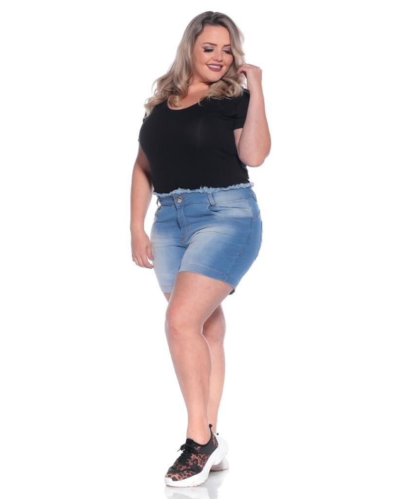 Short Jeans Curto com Cós Desfiado