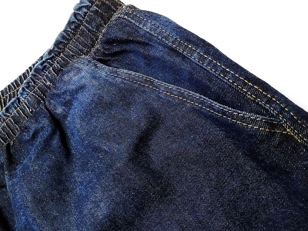 Short Jeans Curto com Elástico na Cintura e Bolsos