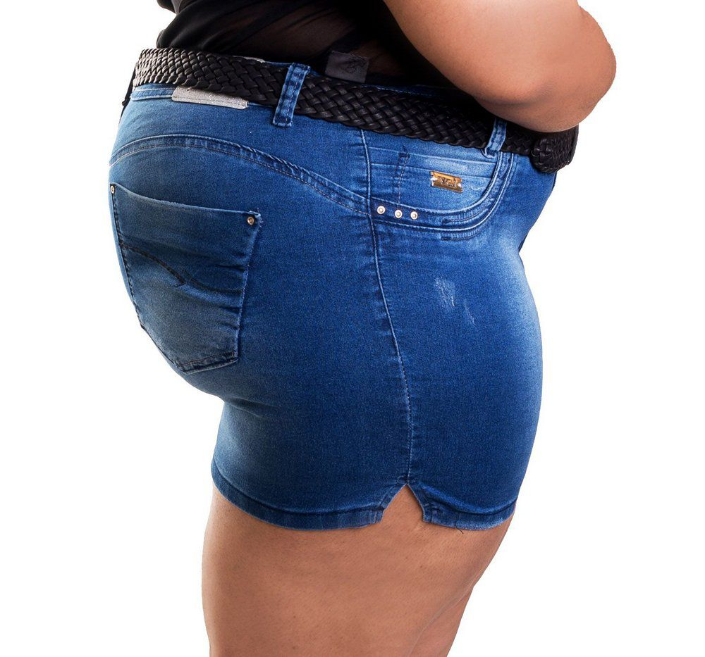 Short Jeans Curto Manchado