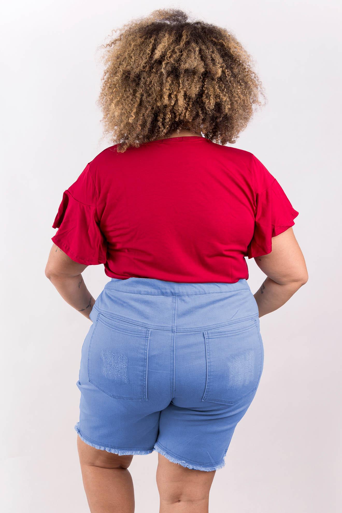 Short Saia Jeans Claro com Puídos