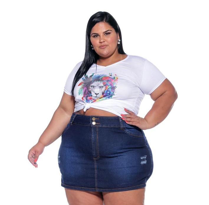 Short Saia Jeans com Rasgos