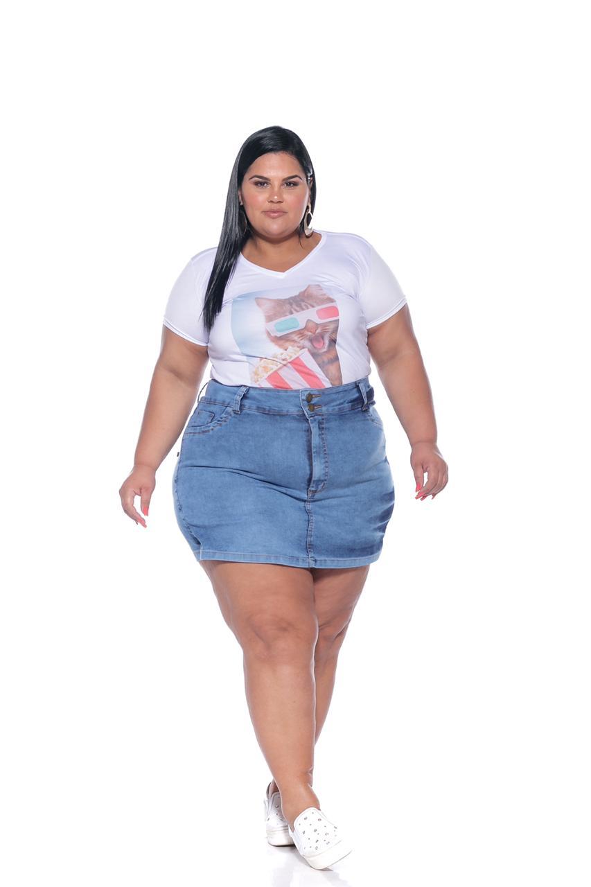 Short Saia Jeans Lavagem Clara