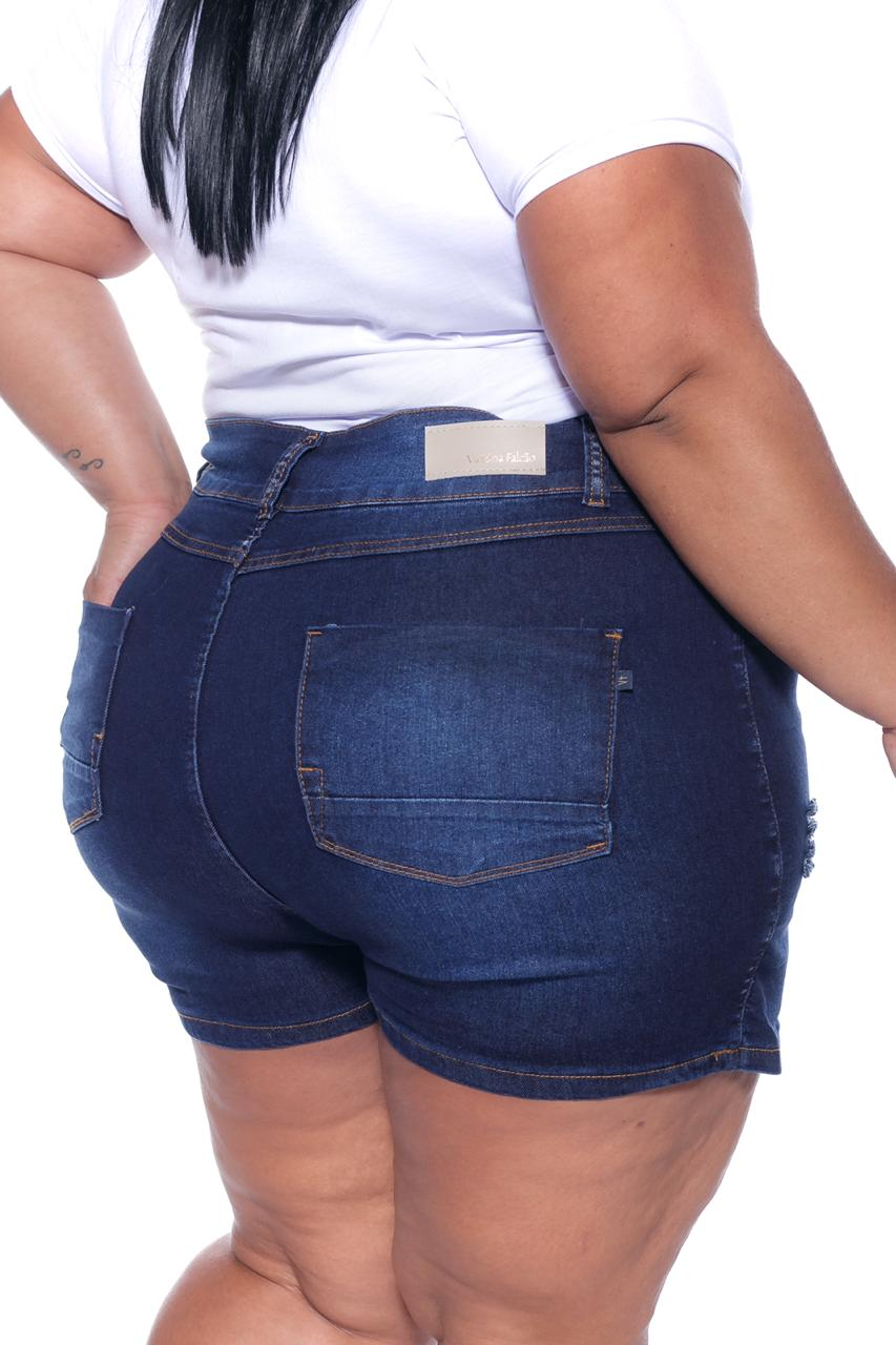 Short Saia Jeans Lavagem Escura