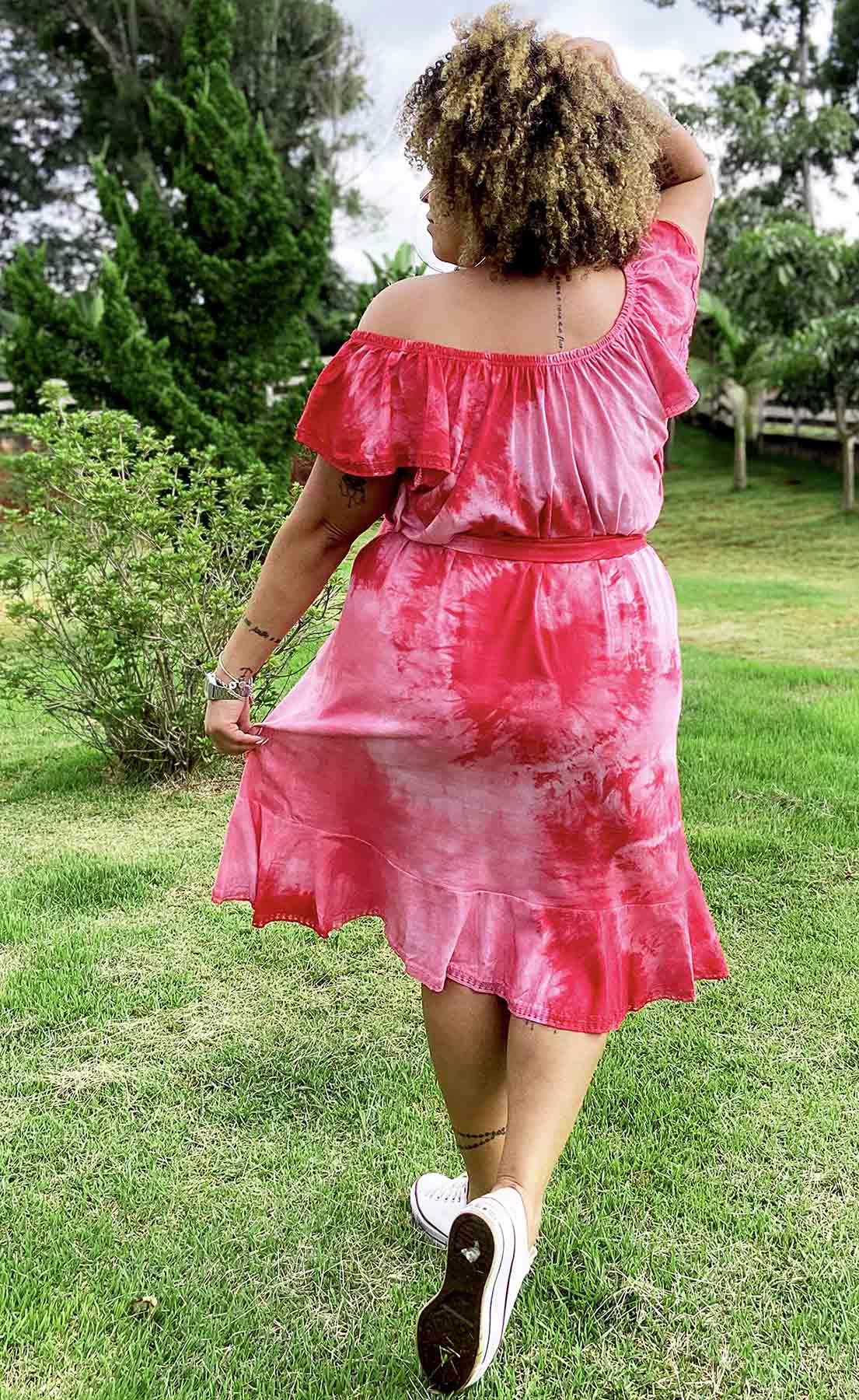 Vestido Ciganinha de Algodão com Babado Tie Dye