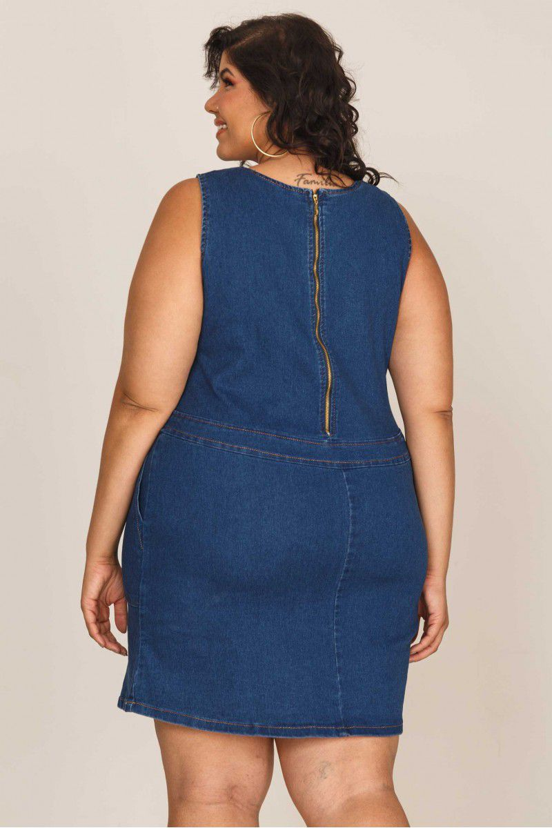Vestido Curto Jeans com Bolsos Recoleta