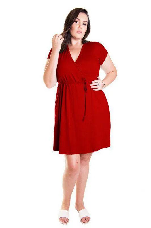 Vestido Curto Vermelho Transpassado Envelope