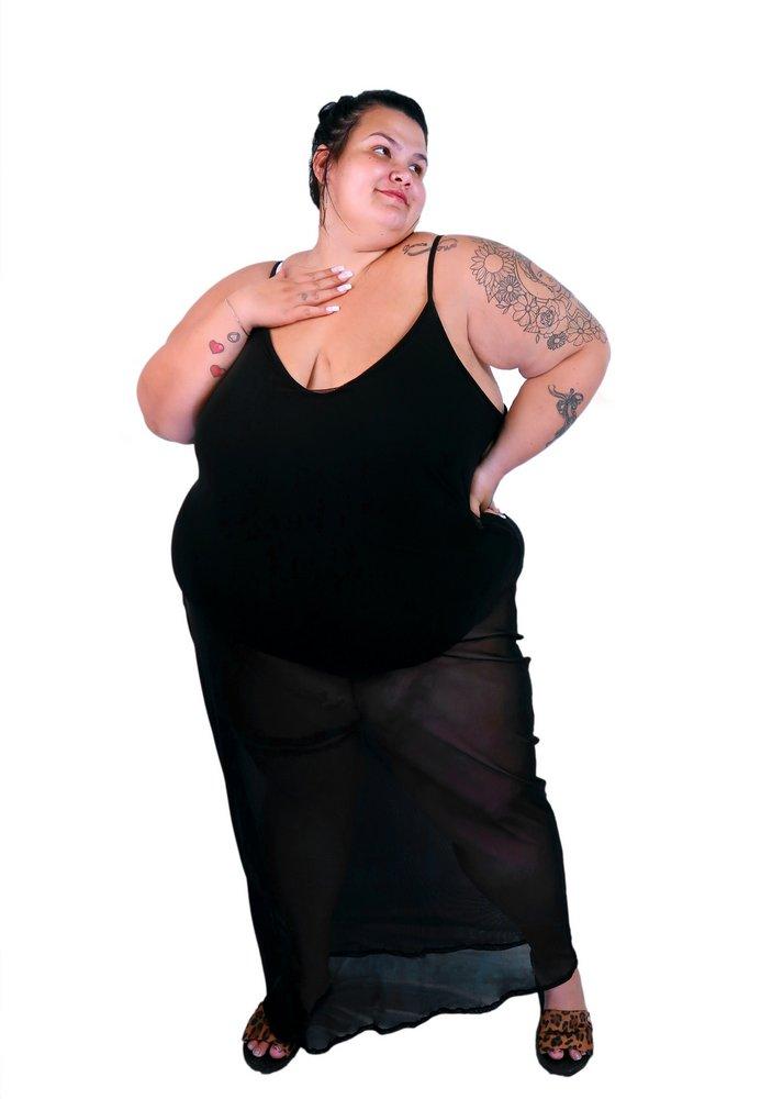 Vestido Longo de Tule com Body By Thais Carla - Liquidação
