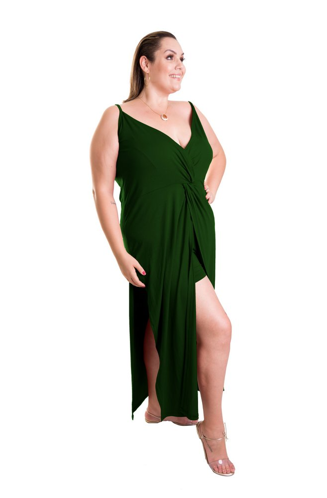 Vestido Longo Verde Militar com Fendas e Decote - Liquidação