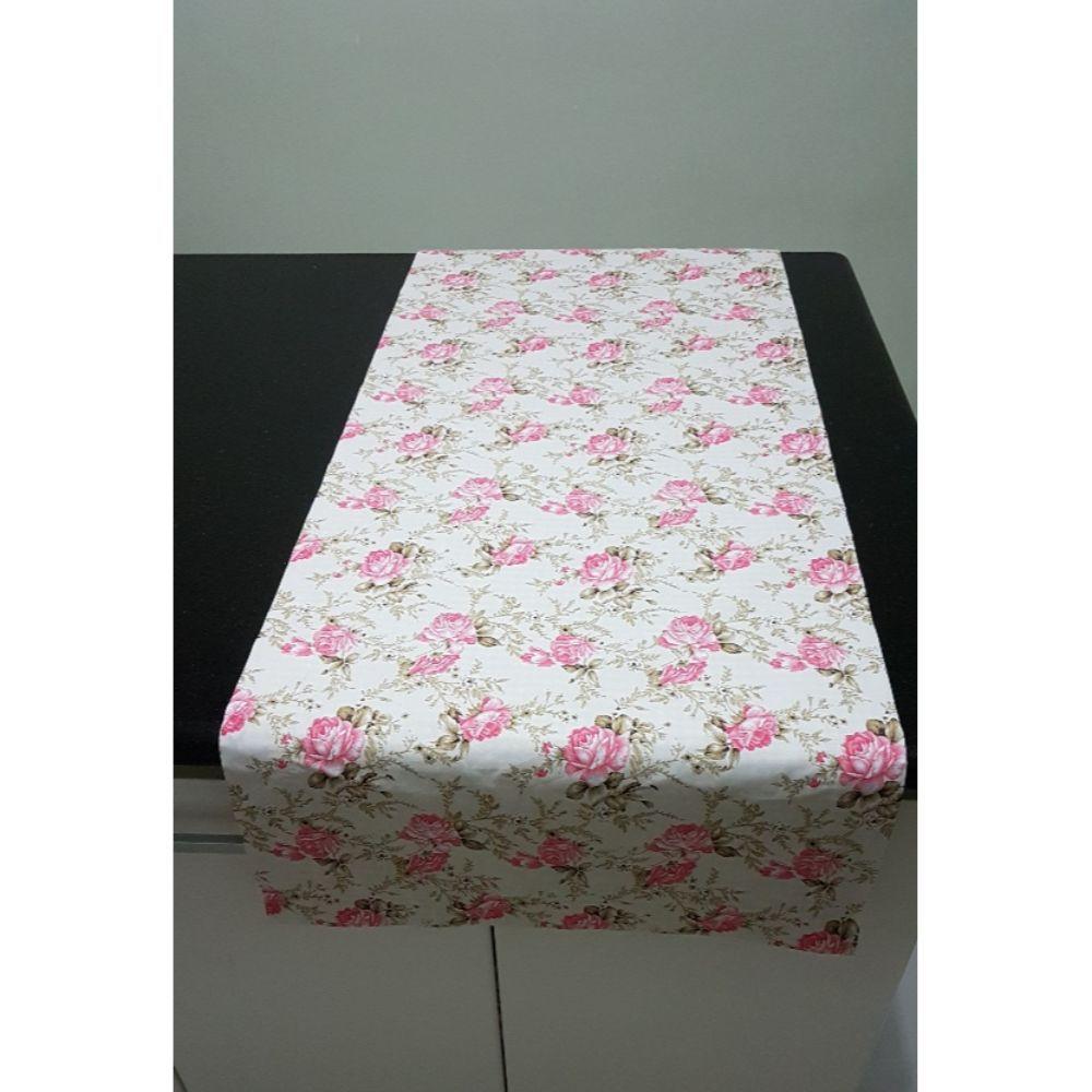 Caminho de Mesa Dupla Face Rosas Grandes em tricoline 100% algodão
