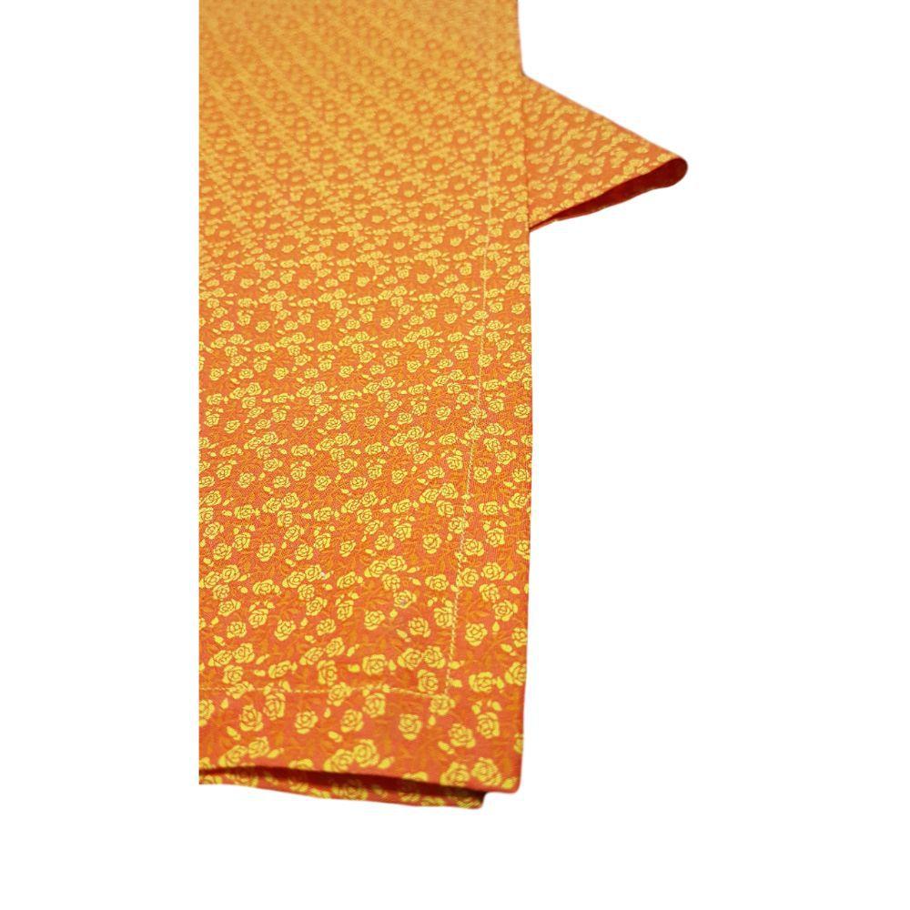 Caminho de Mesa  Flores Laranjas em tricoline 100% algodão