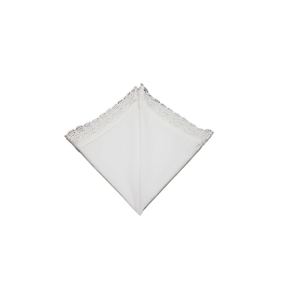 Guardanapo Renda Guipir Branco em cambraia de algodão